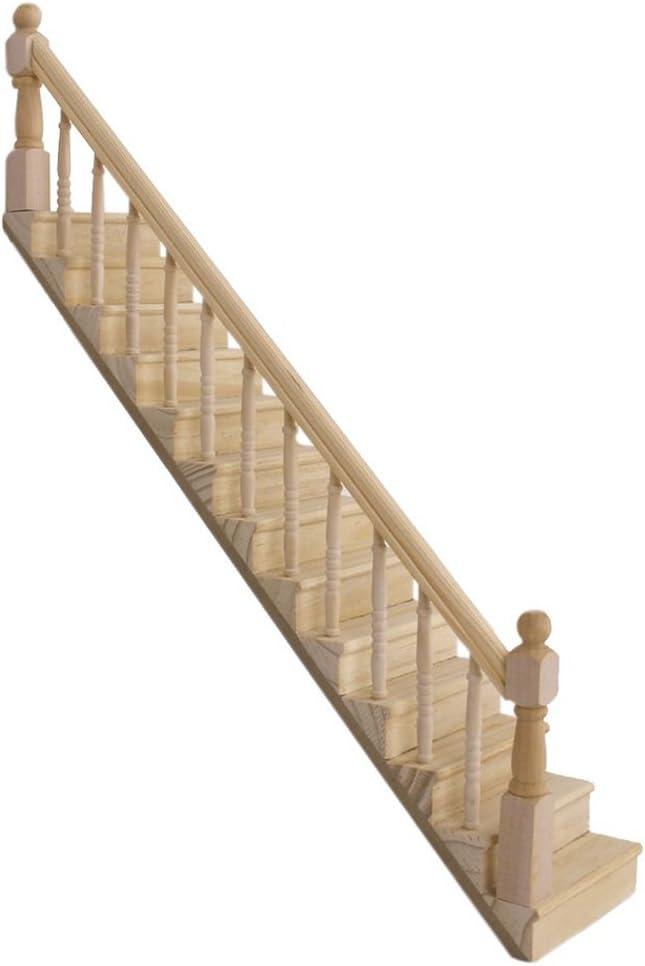 Dcolor 01:12 Maison de poupees en bois Escalier avec la Rampe Gauche pre-assemblee pente de 45 degres