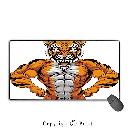 Extended Mousepad with Durable Stitched Edges,Animal,Wildlife Safari African Animal Bodybuilder Tiger Cartoon Image,Marigold Light Grey and Black,Premium Textured Fabric, Non-Slip Rubber Base,9.8