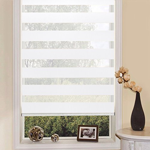 SHINY HOME® Duo Rollo Doppelrollo Klemmfix Fensterflügel mit Klemmträger tageslicht blickdicht Raffrollo ohne Bohren Sonnenschutzrollo Fensterrollo für Fenster oder Tür 90x150cm Weiß