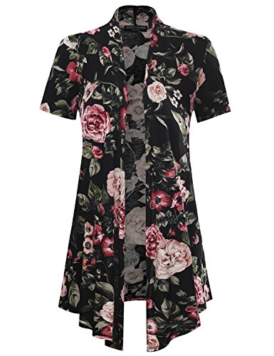 All for You Women's Soft Drape Floral Cardigan Short Sleeve Black 61137 XX-Large - Floral Ribbed Cardigan