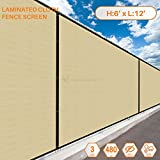 Sunshades Depot 6' FT x 12' FT Beige Tan Solid Vinyl Coated Polyester Mesh Fence Screen Residential Commercial Privacy Fence Screen Custom Available 3 Years Warranty 480 GSM 100% Blockage