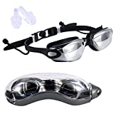 WINND Swimming goggles Adult Goggles Adult Plating HD Anti Fog Waterproof Anti UV Professional Seamless Silica Gel Swimming Goggles with Conjoined Ear Plugs and Protection Case