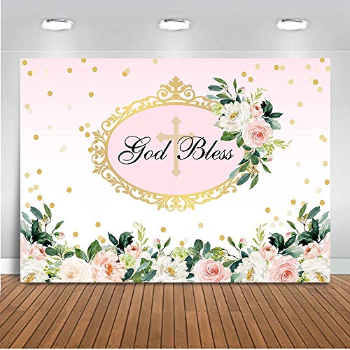 First Communion Decoration Ideas (Mocsicka First Communion Backdrop 7x5ft God Bless Baptism Flower Photo Backdrops Christening Floral Birthday Baby Shower Cake Table Decorations Banner Photography)