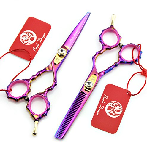 Purple Dragon 5.5 inch Professional Japanese 440C Bamboo Handle Barber Hair Cutting Scissors - Salon Hairdressing Thinning Shears- Personalized Design Perfect for Hair stylist or Home Use