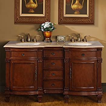 Silkroad Exclusive Travertine Stone Top Double Sink Bathroom Vanity With  Cabinet, 60 Inch
