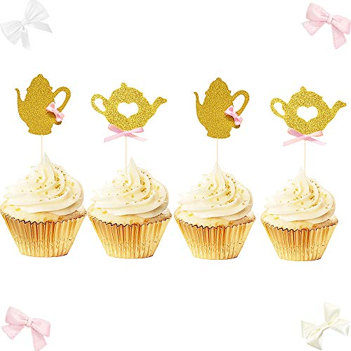 (JeVenis Set of 24 Glittery Tea party Cupcake Topper Tea Party Decoration Teapot Cupcake Toppers for Bridal Shower Girls Party Wedding Party)