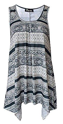 Friendz Trendz -Ladies Floral Printed Sleeveless Hanky Hem Scoop Neck Tunic Top (XXL, CREAM (Hanky Hem Top)