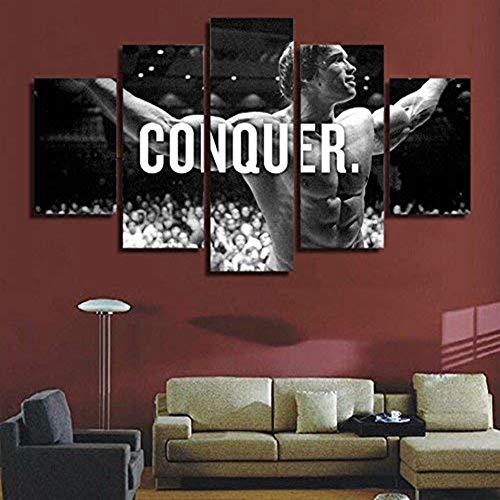 Jl Motivational Inspiritional Arnold Schwarzenegger Conquer 5 Pieces Canvas Painting Wall Art Giclee Artwork for Home Decoration,B,20x352+20x452+20x551 (Best Motivational Wallpapers Hd)