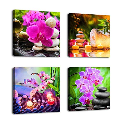 Canvas Wall Art Zen Canvas Prints SPA Stone Green Bamboo Pink Waterlily and Frangipani Picture - 4 Pieces Framed Canvas Art Modern Artwork Canvas Painting for Home Office Kitchen - Art Yellow Pink Print