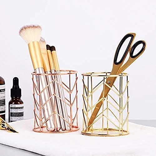 Oro MoGist Portapenne Creativo moda openwork cilindrico portapenna in ferro Portaspazzole per trucco Portapenne di cancelleria