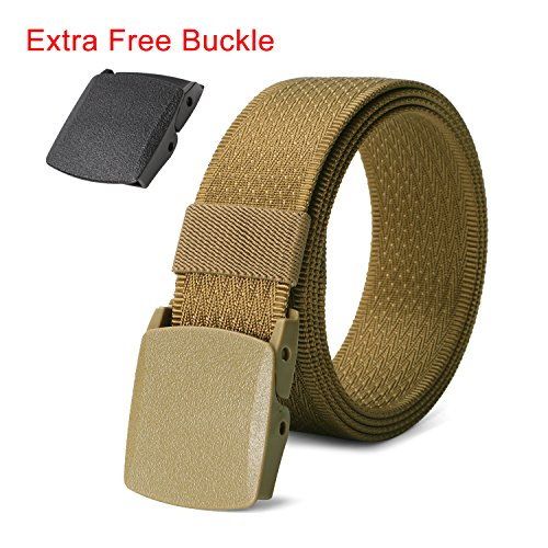 Adjustable Nylon Belt with Plastic Buckle, Sand Brown Webbing Belt Easy Trim Down