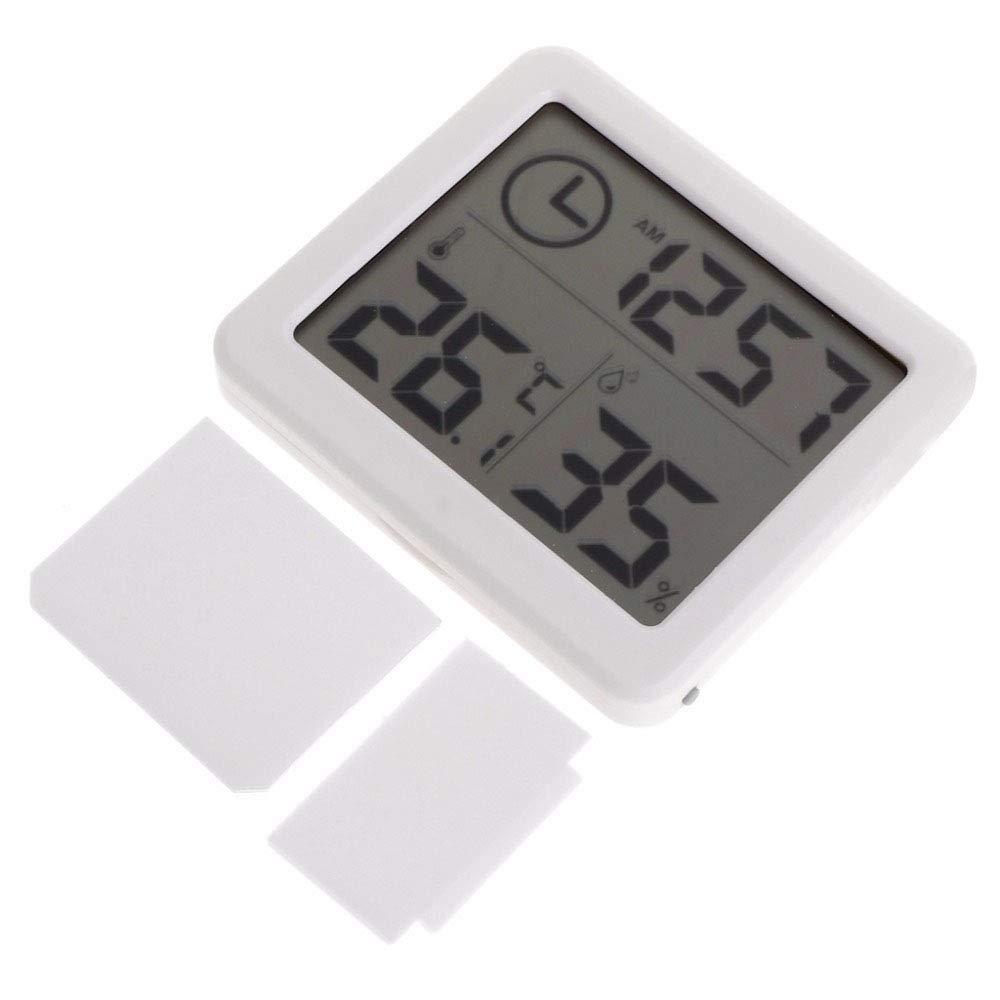 OurLeeme Wetterstation 10~70C Mini Wireless LCD Display Innentemperatur Luftfeuchtigkeit Wecker