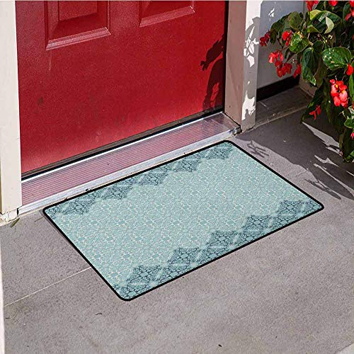 GloriaJohnson Morrocan Inlet Outdoor Door mat Modern Design with Eastern Ethnic Style Forms Ivy Frame Like in Two Catch dust Snow and mud W23.6 x L35.4 Inch ()