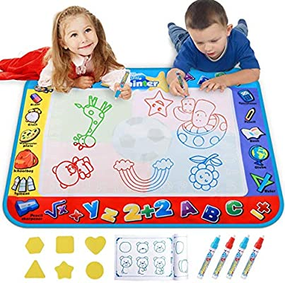 - Amazon.com: Alago Aqua Coloring Mat,Kids Toys Large Water Painting  Mat,Toddlers Doodle Pad With 4 Colors,Gifts For Girls Boys Age 3 4 5+ Years  Old,4 Pens,Drawing Molds And Booklet Included: Toys & Games