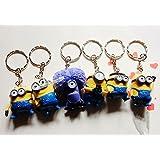 6pcs Keychain Set Despicable Me 2 Mini Action Figure 3d Minion Collectibles Gift
