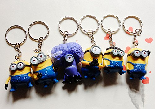 6pcs Keychain Set Despicable Me 2 Mini Action Figure 3d Minion Collectibles -