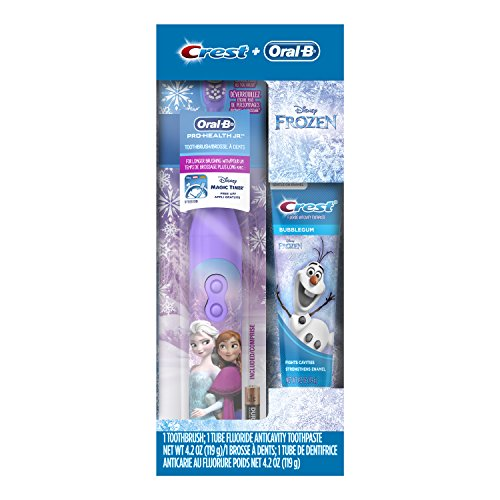 Oral-B and Crest Kids Pack featuring Disney's Frozen, Kids Fluoride Anticavity Toothpaste and Battery Powered Toothbrush (Toothbrush Battery Crest)