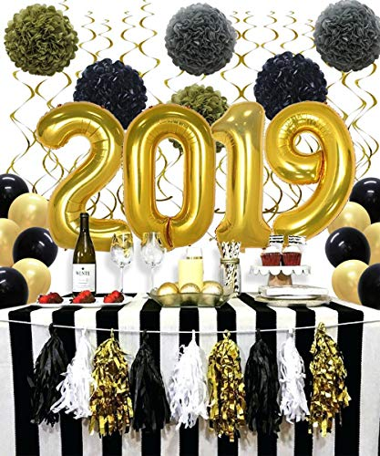 KAXIXI 40inch Gold 2019 Balloons, Hanging Party Swirls, Black Gold Latex Balloons, Tissue Paper Pom Poms Flowers, Graduation, Wedding Bride Shower,Baby Shower, New Year Party Decorations ()