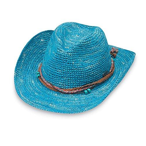 (Wallaroo Hat Company Women's Catalina Cowboy Hat - Raffia, Modern Cowboy, Designed in Australia, Ocean Blue)