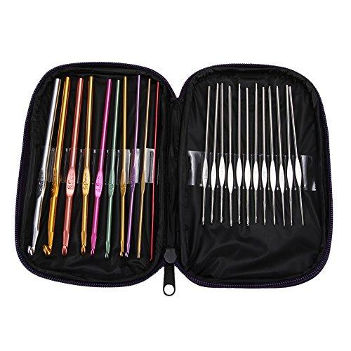 [해외]22pcs 크로 셰 뜨개질 후크 뜨개질 바늘 세트 멀티 컬러 알루미늄 직조 공예 가방 / 22pcs Crochet Hooks Knitting Needles Set Multi Coloured Aluminium Weave Craft with Bag
