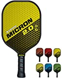GAMMA Sports 2.0 Pickleball Paddles: Micron 2.0 Pickleball Rackets - Textured Fiberglass Face - Mens and Womens Pickle Ball Racquet - Indoor and Outdoor Racket - Yellow Pickle-Ball Paddle - 7.6 oz