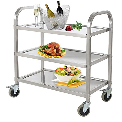 PANO 3 Shelf Stainless Steel Utility Cart with Wheels Service Cart for Kitchen Restaurant Bar, 220lb (Restaurant Service Carts)