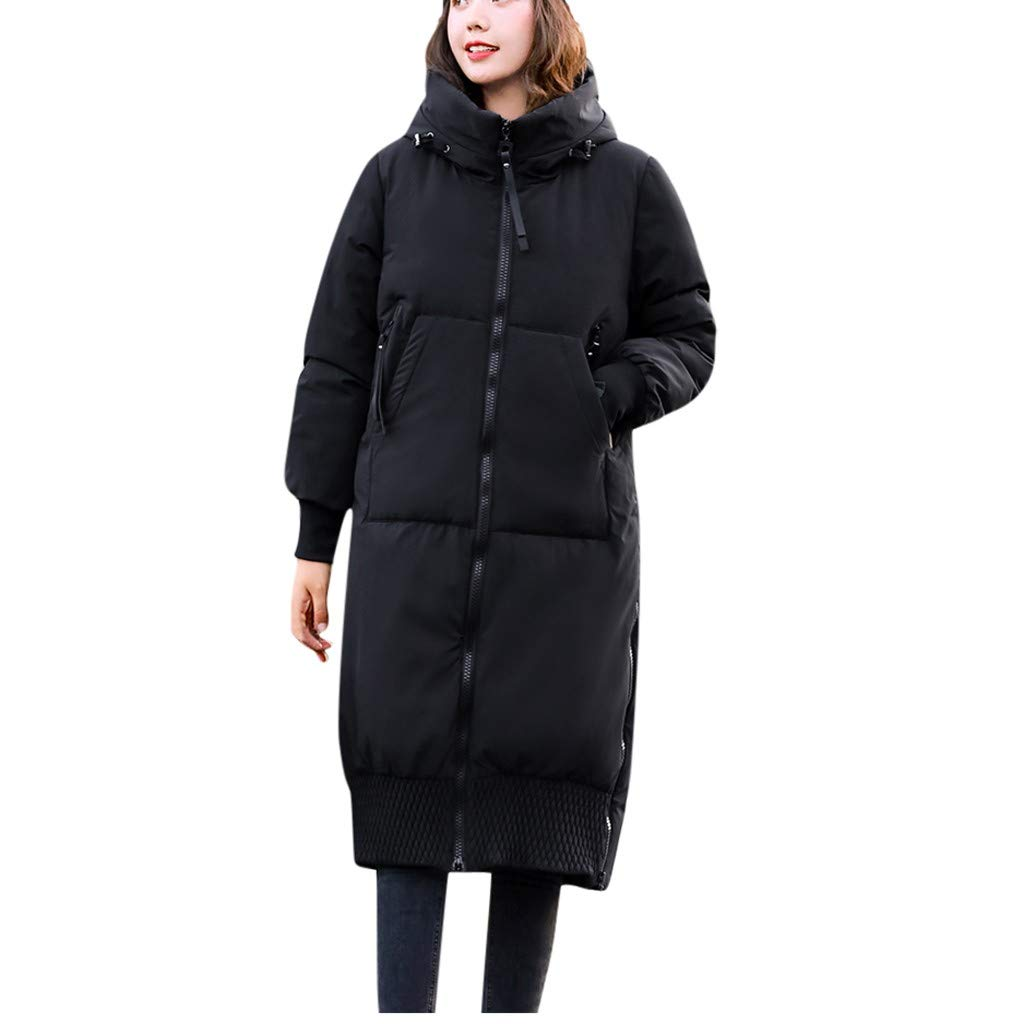 Pandaie Women Winter Jacket Long Trench Coat Parka Jacket Warm Fur Hooded Down Quilted Jacket Black by Pandaie