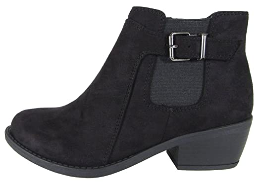 Women's Closed Round Toe Buckle Chunky Stacked Low Heel Ankle Bootie