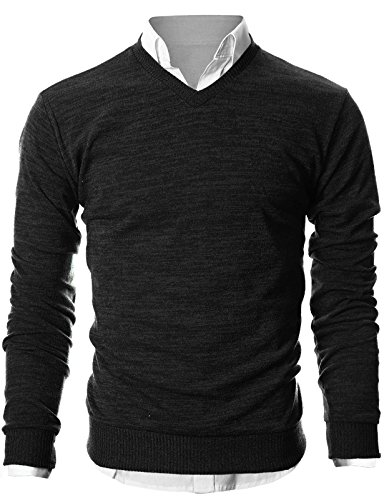 Ohoo Mens Slim Fit Light Weight V-Neck Pullover Sweater/DCP015-BLACK-L by Ohoo