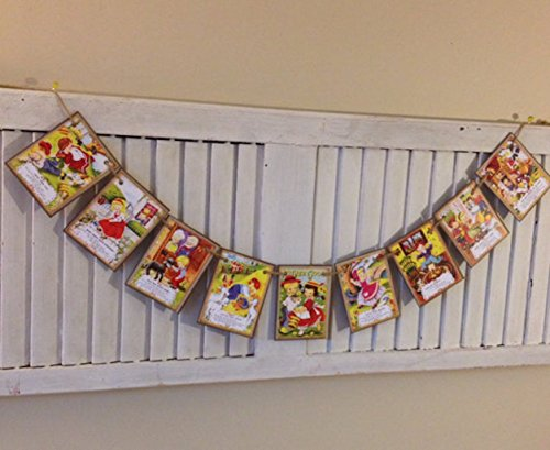 Mother Goose Nursery Rhyme Retro Old School Banner Bunting Swag Garland Perfect for New Baby Nursery Infant Photo Shoot Pre School Kindergarten (Nursery Rhyme Decorations)