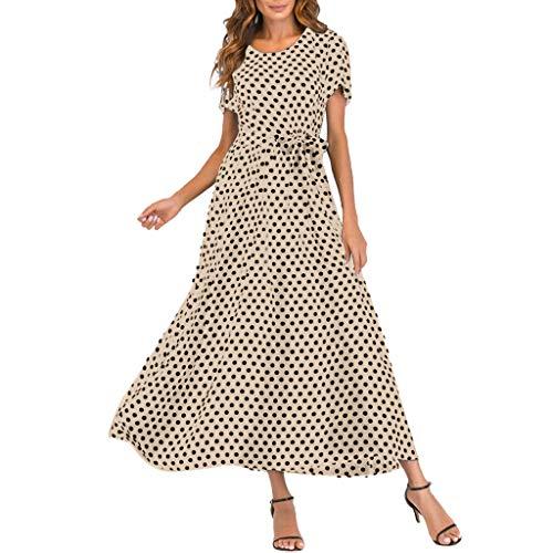 Toamen Dresses for Women Sale Boho Polka Dot Printing Short Sleeve Summer Flowy Beach Party Swing Maxi Dress with Belt