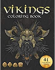 Viking coloring book: Nordic Warriors, Berserkers, Valhalla Runes, Spears and Shields
