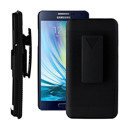 SOJITEK Samsung Galaxy A5 Black Hoslter Case 2 in 1 Hybrid Hard Shell Holster Combo With Kickstand & Belt Clip