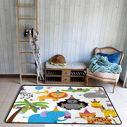 Floor Bath Rug Kids Birthday Jungle Wild Safari Animals in Cartoon Pattern with Party Hats Flags Image Personality W39 xL63 Multicolor