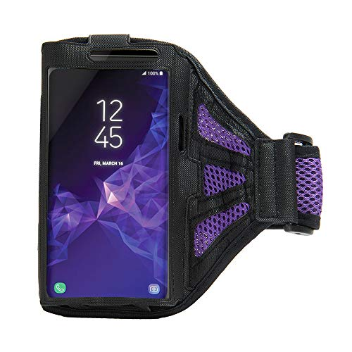 Performance Sports Mesh Lined Cell Phone Workout Armband (Purple) for Samsung Galaxy A50, A60, Xcover 4s, M40, A20e, A20, A40, S10e, S10+, S10, M30, A10, A30, M10, M20, J7 Refine, J7 Star