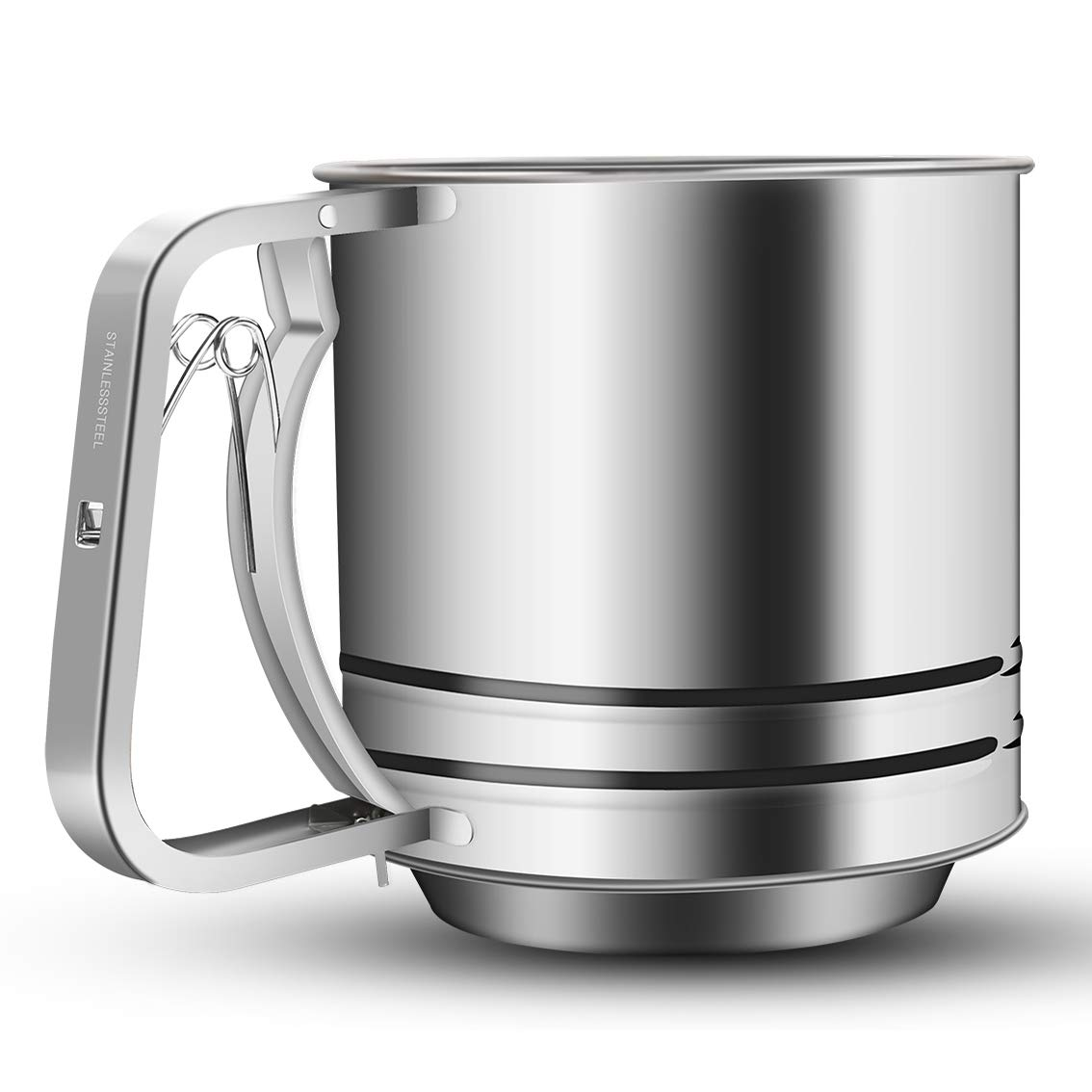 NPYPQ Stainless Steel Flour Sifter Large Baking Sieve Cup for Powdered Sugar by NPYPQ