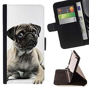 Momo Phone Case / Flip Funda de Cuero Case Cover - Barro Negro perrito blanco Oído Botón lindo; - Apple Iphone 6