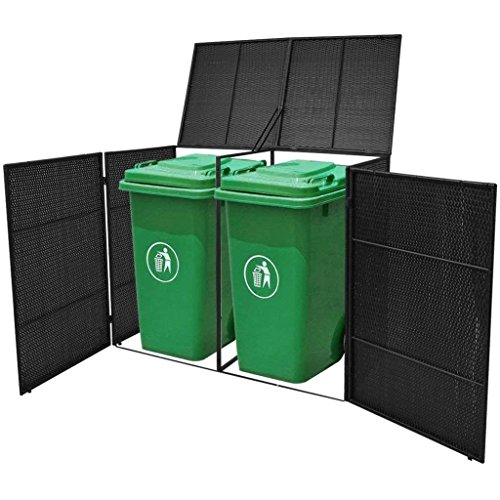 Poly Rattan Double Wheelie Bin Shed Shelter Hider Cover, Black ()