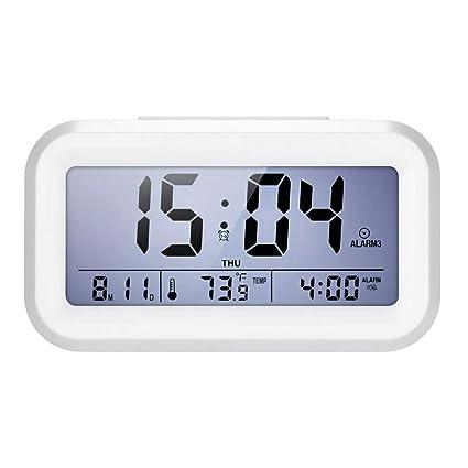 Decdeal Despertador Electrónico con Snooze/LCD Sensor de Luz ...