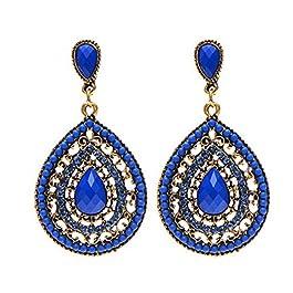 1Pair Women Drop Earings Vintage Waterdrop Shaped Long Bohemian Style Earings Royalblue