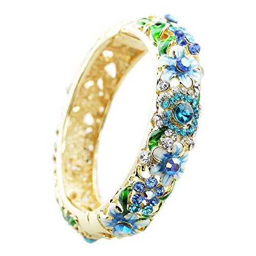 FOY-MALL Blue Floral Design Cloisonne Crystal Rhinestone Bangle Bracelet E1385 - Floral Design Bangle