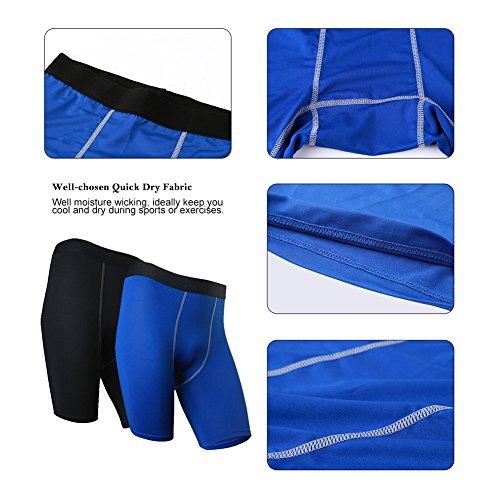 Fitibest Pantaloncini Aderenti ad Alta Asciugatura per Uomo,2 pezzi Blue Black