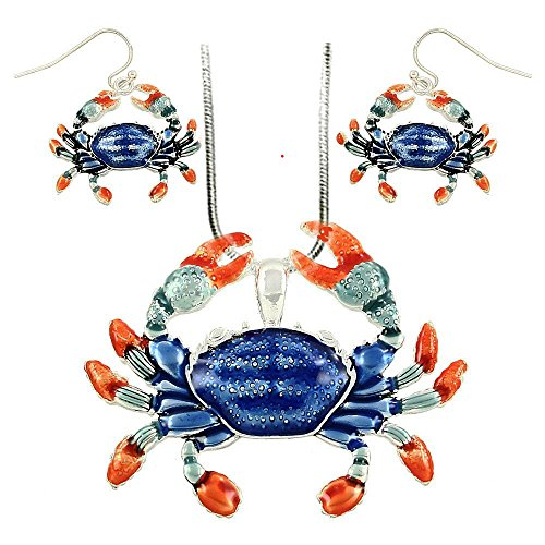 DianaL Boutique Beautiful Enameled Crab Pendant Necklace and Earrings Set Cancer Horoscope Zodiac Sign with 19