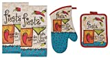 4 Piece Fiesta Salsa Print Kitchen Bundle - 2 Terry Towels, Oven Mitt, Potholder