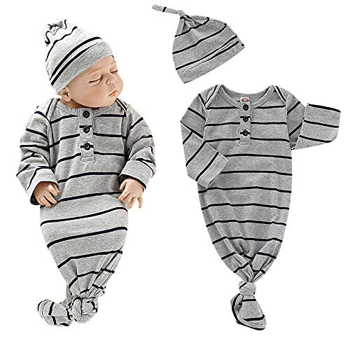 (Baby Gown Newborn Cotton Long Sleeve Stripe with Button Unisex Sleeping Bag Baby Boy Girl Blanket Sleeper Coming Home Outfit Gray with Hat for Baby Boy Girls 0-3months )