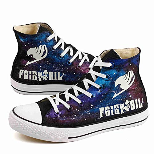 Glow in Night High Top Canvas Shoes Luminous Fairy Tail Anime Fans Casual Walking Shoes Adults Hand Painted Starry Night Effect Sneakers (9.5 M US Women / 8 M US Wen /CN42, Black T-ZII01HY)