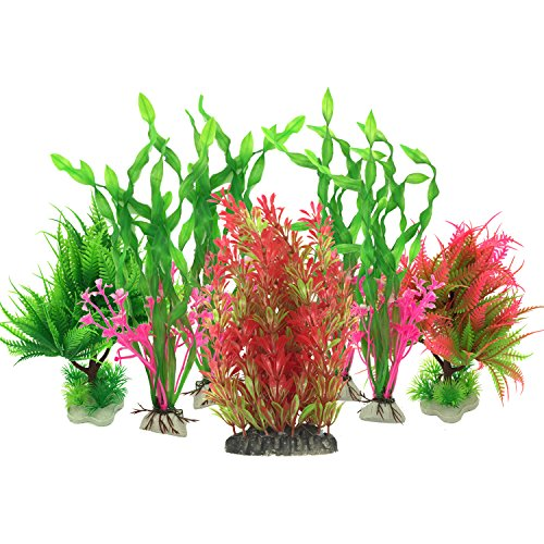 Pietypet Artificial Aquatic Plants, Large Aquarium Plants Plastic Fish Tank Decorations, 7PCS Red and Green