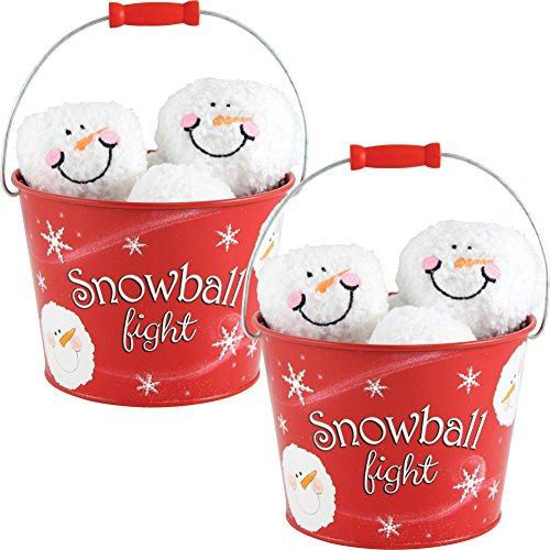 (Set/2) Indoor Fun Snowball Fight Buckets -12 Plush Balls w/Red Tin (Red Tin Pails)