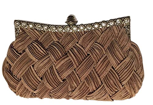 Chicastic Pleated and Braided Rhinestone studded Wedding Evening Bridal Bridesmaid Clutch Purse - Tan