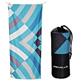 Privello Microfiber Towel Travel & Beach - Ultra Compact with Stuff Sack - XL Size Aqua Multi (76'' x 33'') Lightweight, Quick Drying for Pool, Camping, Beach Blanket and Gym - Sand Free